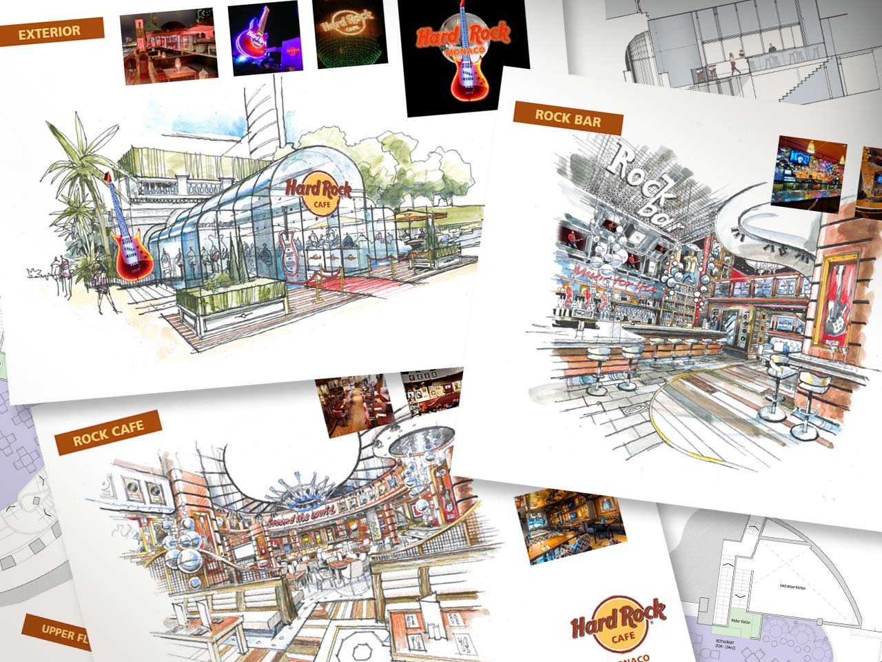 Hard Rock Café initial interior and exterior concept drawings