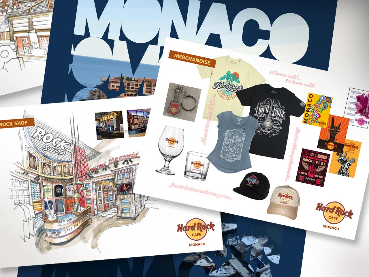 Hard Rock Café merchandising visuals