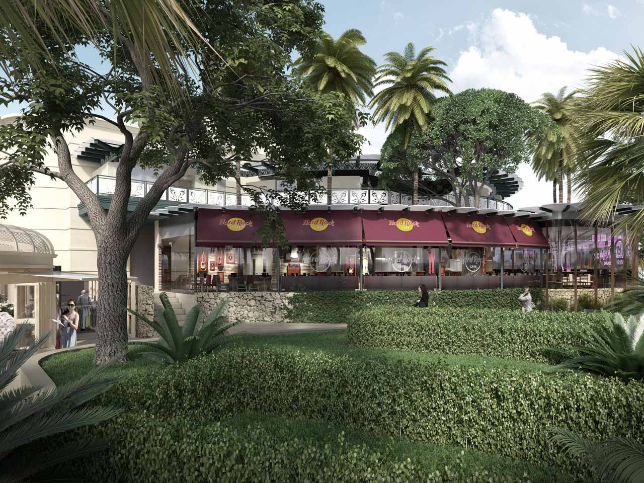 Hard Rock Café exterior CGI showing how the café will blend with existing architecture, gardens and walkways
