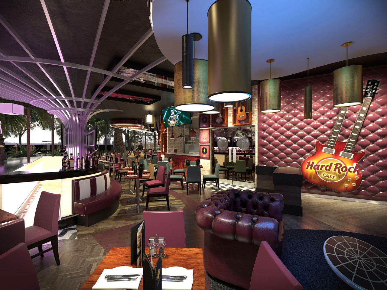 Hard Rock Café interior CGI showing the walls covered in rock 'n' roll memorabilia
