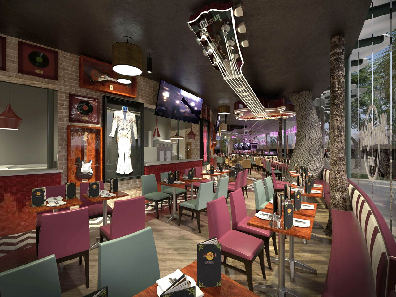 Hard Rock Café interior CGI showing a giant roof-mounted neon guitar